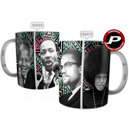 Caneca Movimento Negro - Mandela, Malcon X, Luther King e Angela Daves