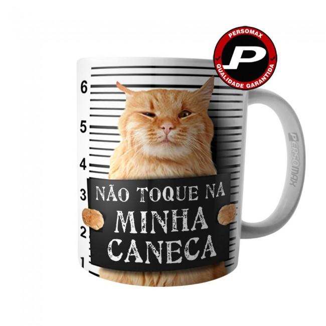 Caneca Gato Amarelo Bravo - Não Toque Na Minha Caneca
