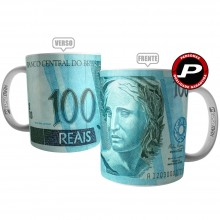 Caneca Real Cédula Nota de 100 Reais Dinheiro Investidor