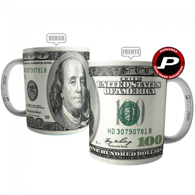 Caneca Dólar Americano Nota Cédula de 100 Dólares Investidor