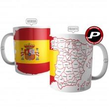 Caneca Bandeira da Espanha com Mapa para Colorir
