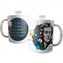 Caneca Cientista Isaac Newton - O Que Sabemos é uma Gota