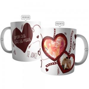 Caneca Casal Amor Não Se Mede - Te Amo Personalizada com 2 Fotos
