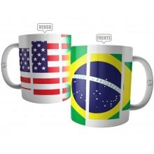 Caneca Bandeira Brasil X Estados Unidos - Intercâmbio