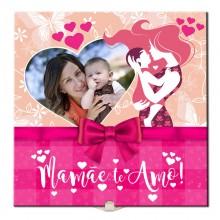Quadro de Azulejo Mamãe Te Amo Personalizado com Foto