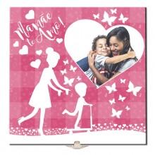 Quadro de Azulejo Mamãe Te Amo Personalizado com Foto + Suporte