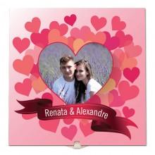 Quadro de Azulejo para Casal, Namorados, Noivos, Bodas com Nome e Foto