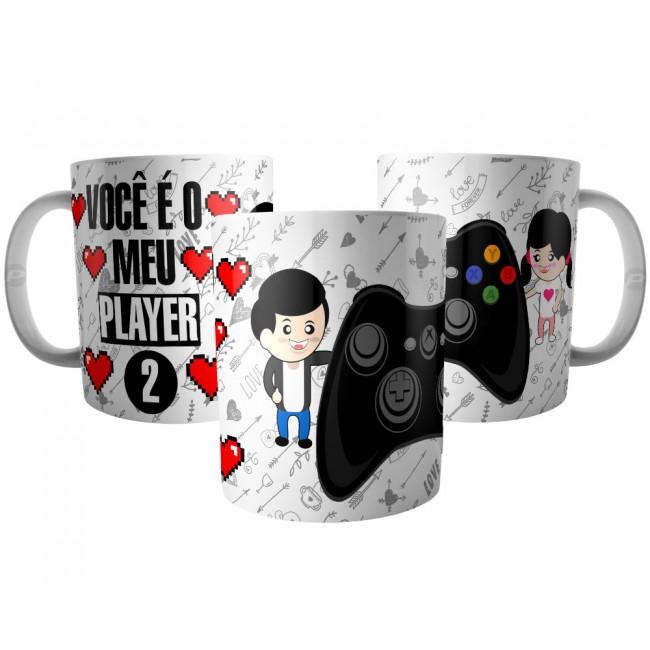 Caneca Casal de Namorados Xbox - Você é meu Player 2