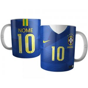 Caneca Camisa Azul da Seleção Brasileira Copa 2018