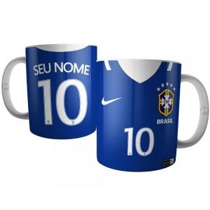 Caneca Camiseta Azul Seleção Brasileira 2017
