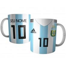Caneca Camiseta da Argentina com Nome