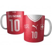 Caneca Camiseta da Seleção da Suiça 2018 com Nome